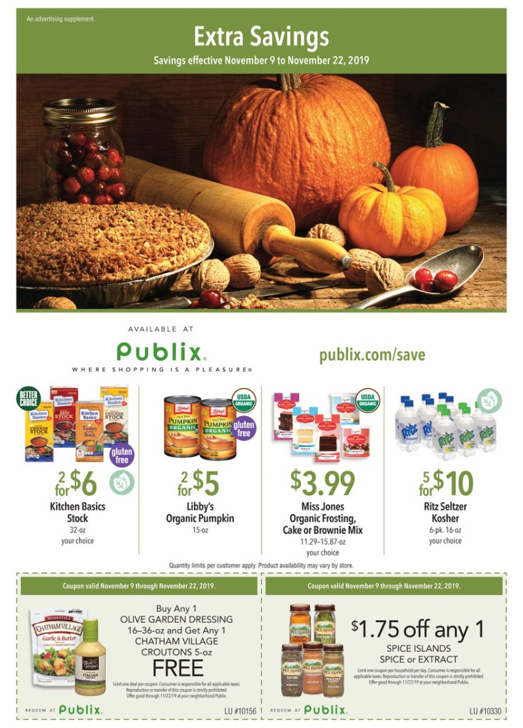 Publix Green Flyer AD Preview! Nov 9- 22