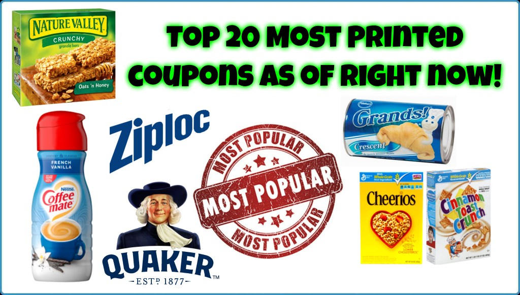 Top 20 Most Printed Coupons right NOW!