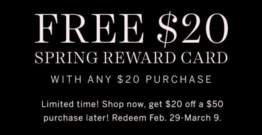 FREE $20 Reward when you spend $20 at Victoria's Secret!
