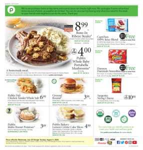 PUBLIX AD July 29 – Aug 4 or July 30 – Aug 5 (Depends on where you live*)
