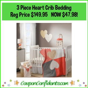 3 Piece Heart Crib Bedding Reg Price $149.95 NOW $47.98!