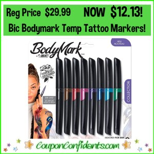 Bic Body Mark Temp Tattoo Markers Reg Price $29.99 NOW $12.13!