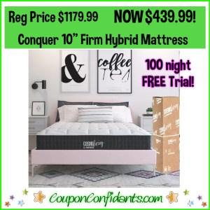 Conquer 10″ Firm Hybrid Mattress Reg Price $1179 NOW $439 (King $549)