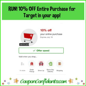 10% Entire Purchase for Target! Check if you got it!