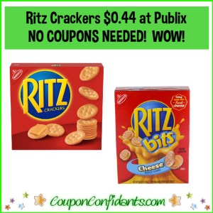 Nabisco Ritz Crackers $0.44 each at Publix! EVERYONE can do this!