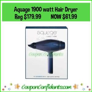 Aquage Advanced 1900 watt Blow Dryer – Reg $179.99 NOW $61.99 (Possible FREE Shipping!)