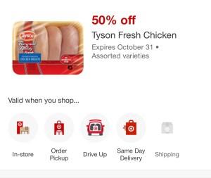 50% OFF Tyson Chicken at Target!