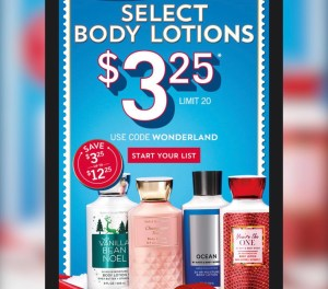 Bath & Body Works -Today 11/14! $3.25 Lotions!