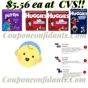 Huggies, Overnites, and Pull ups $5.56 at CVS!!