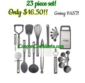 23 piece Kitchen Utensils Kit $16.50!
