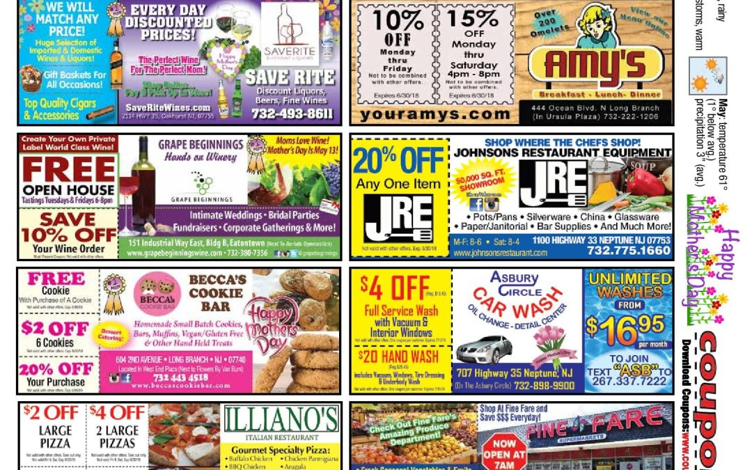 April 2018 COUPON CONNECTION/MOTHER'S DAY – Click Here To See Coupons