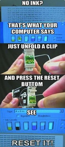 Need to get a few more drops out of your printer cartridge? This image shows how to reset printer ink. This post tells where to find cheap inkjet printer ink, too! Save money everywhere.