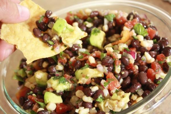 corn and black bean salsa with avocado