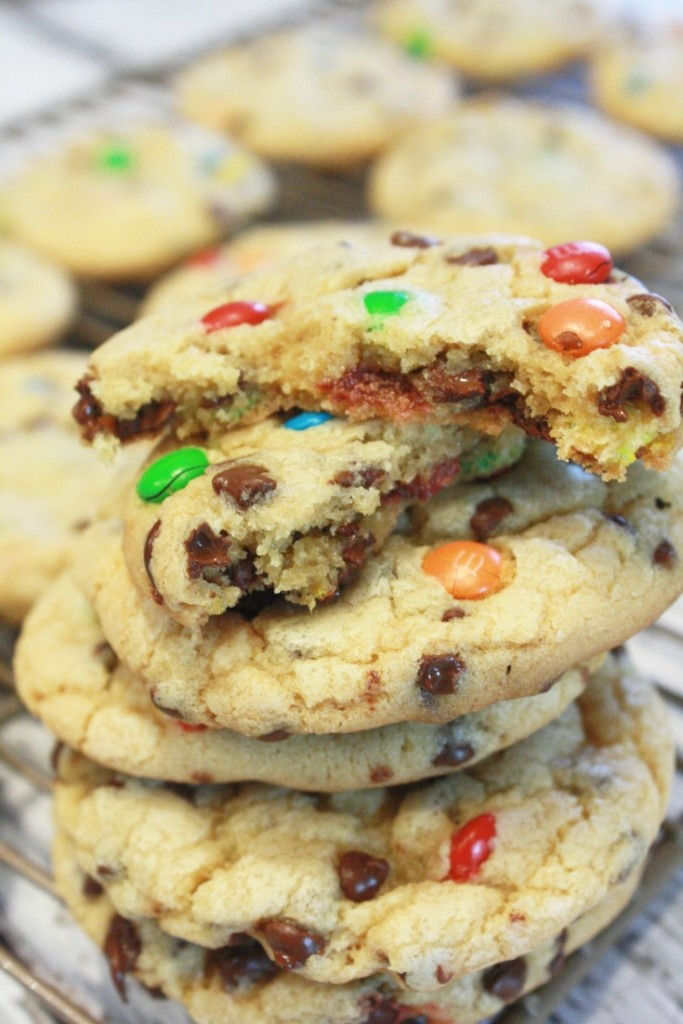 These cookies - m&m, chocolate chips, and pudding - I swear I'll never make them another way again - they're SO good!
