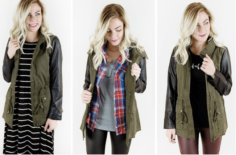 faux-leather-sleeves-military-jacket