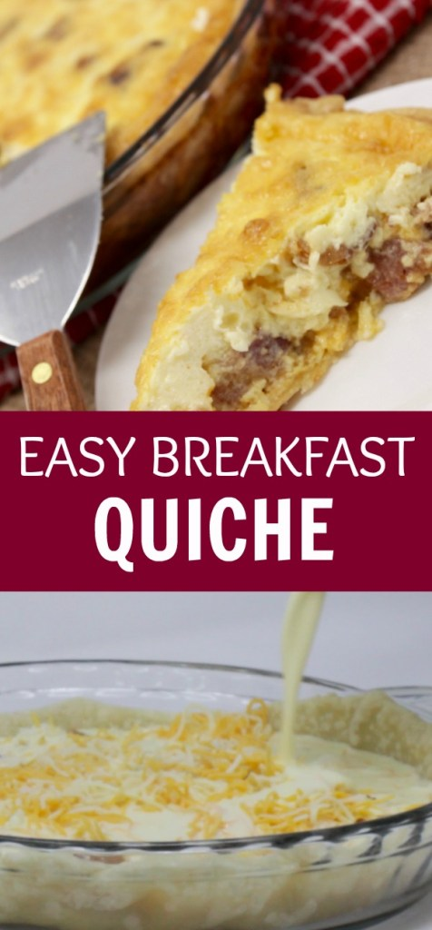 Looking for breakfast quiche recipes? Easy, bacon, cheesy goodness in this simple quiche, ready in less than an hour!