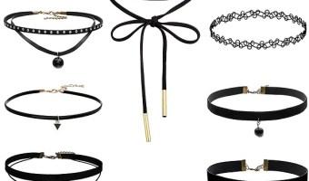 Lowst Price For Set Of 8 Womens Black Velvet Choker Necklaces