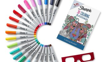 Sharpie 22ct. Permanent Markers with 3D Animals Adult Coloring Book $9.99 (reg. $23.19)