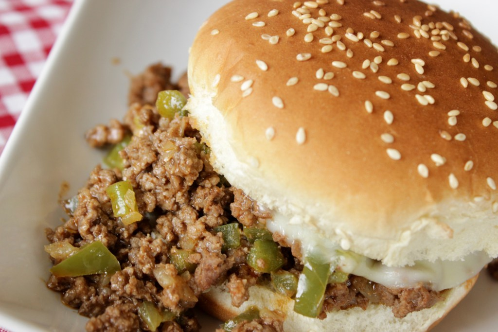 philly sloppy joe on a white plate