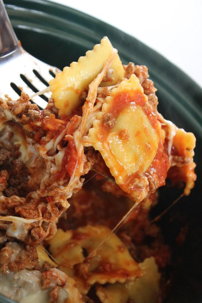 ravioli casserole on a spatula