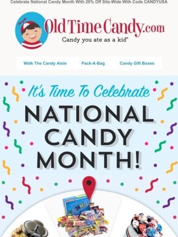 20 site wide during national candy month