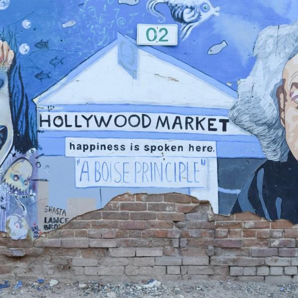 Happiness art mural at freak alley in boise idaho