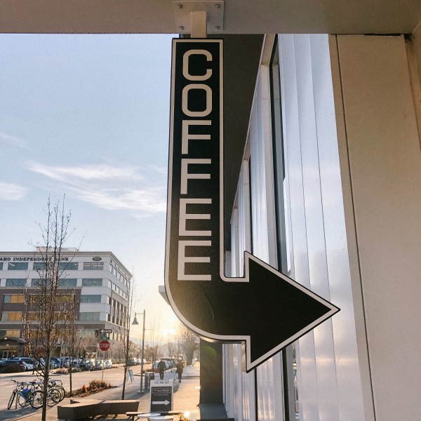 Coffee shop sign at Form and Function as the sun rises in Boise Idaho
