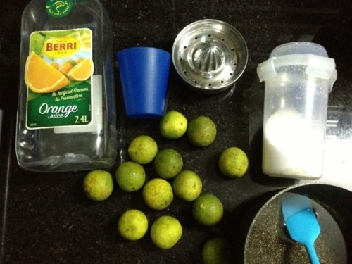 Ingredients for making lime juice