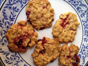 Raspberry, White Chocolate, Oat Cookies attempt no. 2