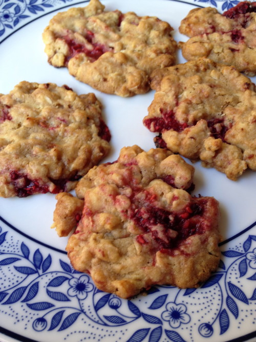 Raspberry, White Chocolate, Oat Cookies