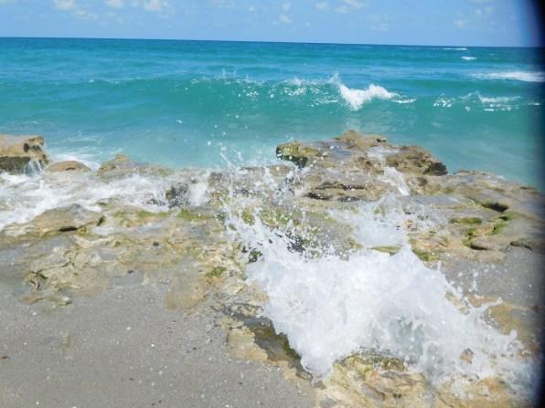 Vagues dans le corail - Plage de Carlin Park à Jupiter / Floride