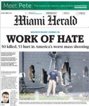 Couverture de Miami Herald, 13 juin 2016