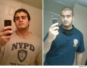 L'agent de sécurité Omar Mateen posant avec des t-shirts de la police de New-York (MySpace)