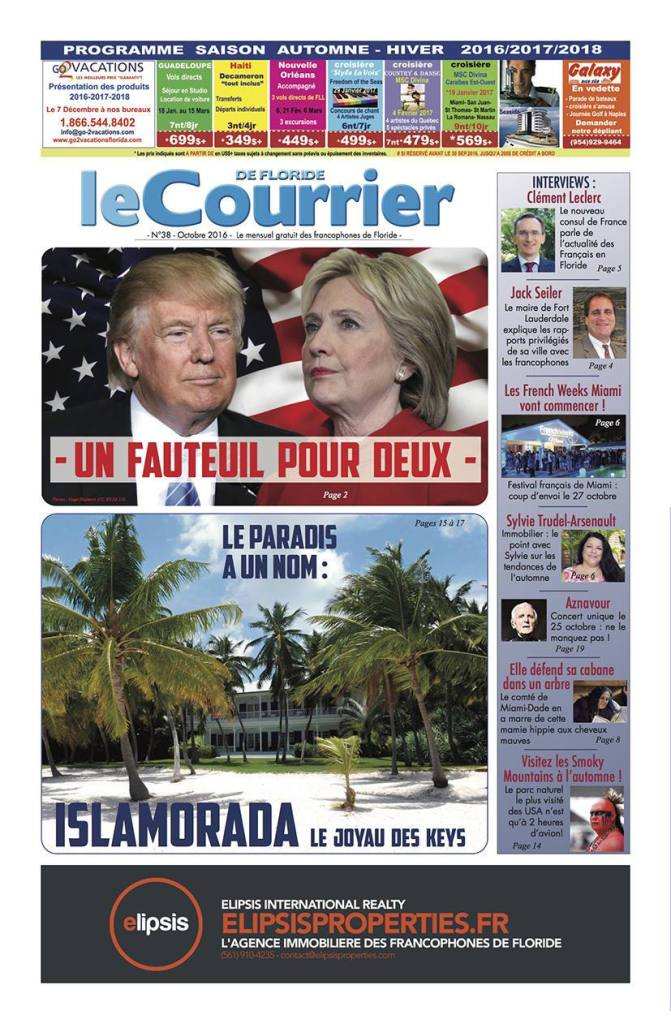Couverture du journal Le Courrier de Floride d'octobre 2016