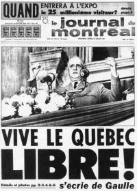 """Couverture du journal de Montréal du 24 juillet 1967 : """"Vive le Québec Libre"""""""