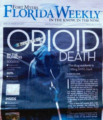 """Mort opioïde"" : la couverture du journal ""Florida Weekly"" de Fort Myers, en Floride"