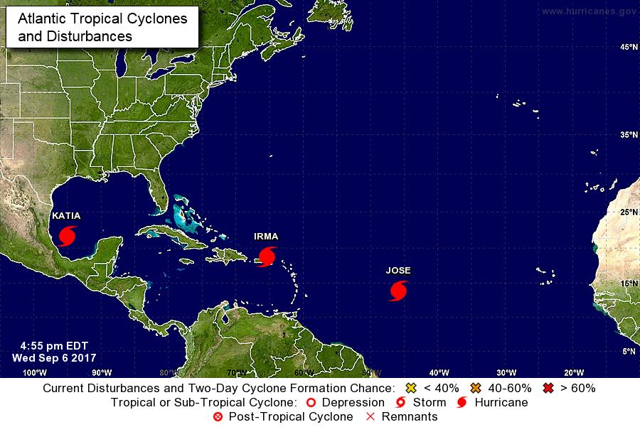 Ouragans autour de la Floride / Mercredi 17h / Carte NHC
