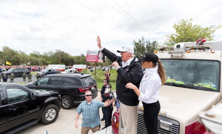 Donald et Melania Trump à Corpus Christi, Texas, après le passage de l'ouragan.