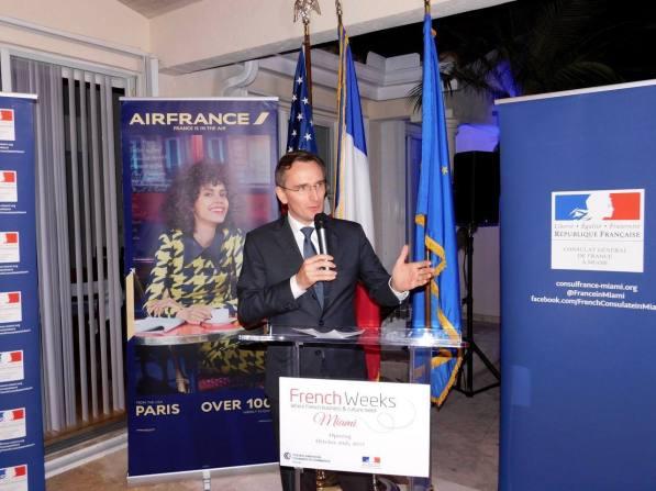 Le consul de France, Clément Leclerc, durant la soirée d'ouverture des French Weeks Miami 2017.