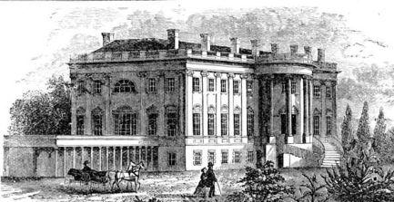 Gravure de la Maison-Blanche au XIXème siècle.