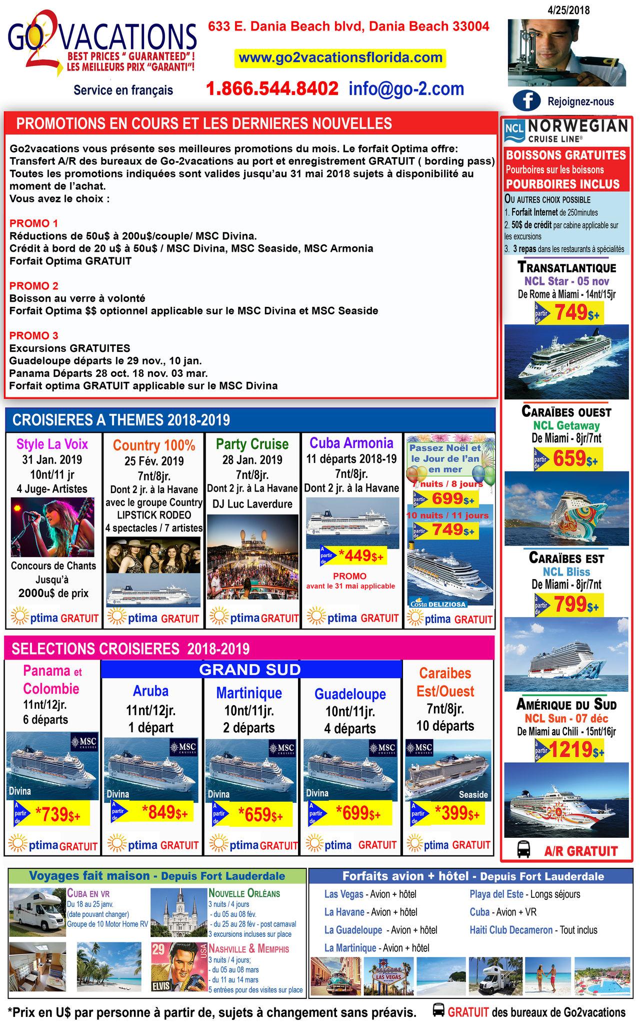 Croisières et excursions au départ de la Floride : Go 2 Vacations