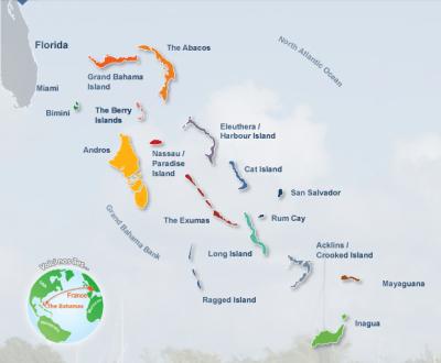 Carte archipel des Bahamas
