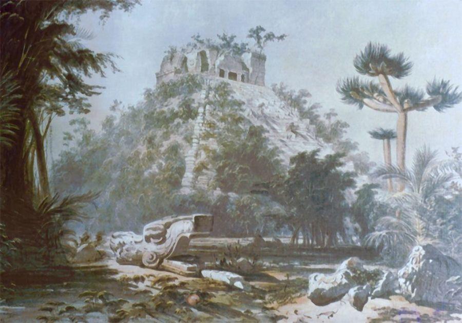 Le Castillo en 1843 lors de l'expédition de John Lloyd Stephens et Frederick Catherwood.