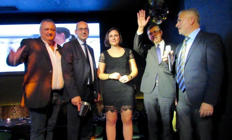 Franck Bondrille, Gilles Marigliano, Pauline (société Contact-USA), Antoine Huet, Alain Ouelhadj durant le cocktail de lancement de Corsair organisé par la FACC Miami au restaurant El Tucan de Miami Brickell.