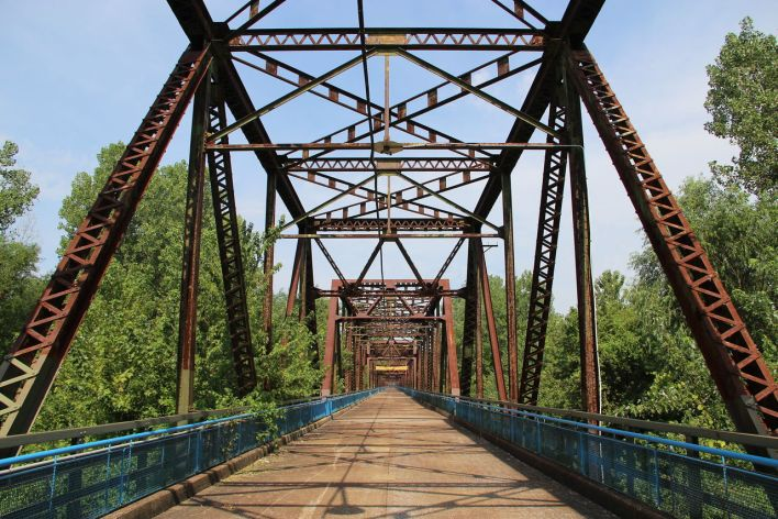 Pont Old Chain of Rocks Bridge (Missouri) au-dessus du Mississippi.