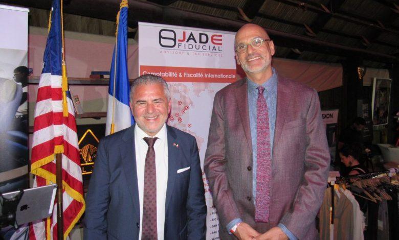 Alain Ouelhadj (pdt FACC) et Laurent Gallissot (consul général de France à Miami) durant la soirée de lancement des French Weeks Miami 2019.