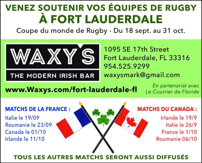 Coupe du monde de rugby pub waxy's Fort Lauderdale