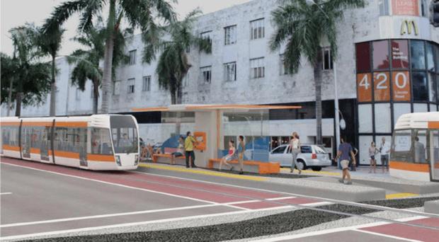 Le Baylink : Une image de synthèse présentée par la Metropolitan Planning Organization de Miami-dade County)