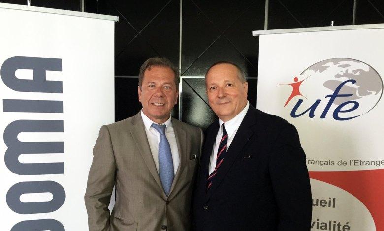 Philippe Coleon (directeur général d'Acadomia) avec Xavier Capdevielle (président de l'UFE Floride), lors du lancement officiel d'Acadomia à Miami.