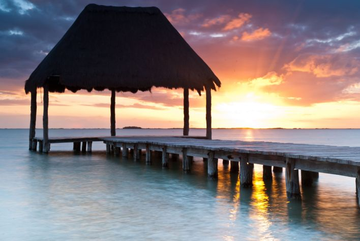 Coucher de soleil sur le lagon de Sian Ka'an